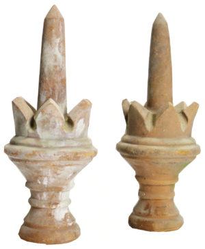 A Pair of Antique English Terracotta Finials