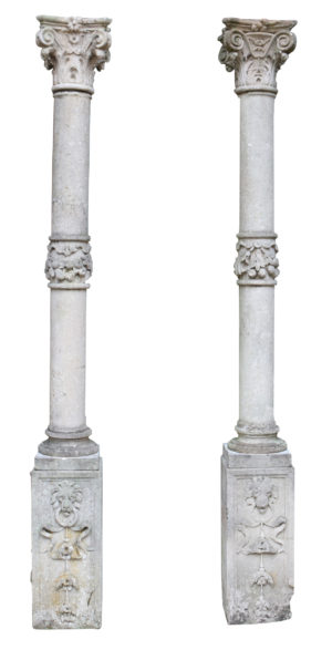 A Pair of Georgian Style Antique Limestone Columns