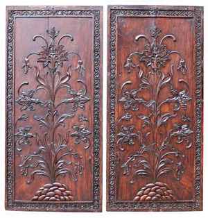 Two Carved Antique Hardwood Wall Panels