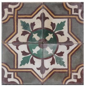Reclaimed Patterned Cement Floor Tiles 6.75 m2 (72 sq ft)