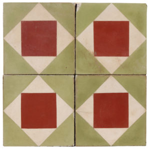 Reclaimed Geometric Encaustic Cement Floor or Wall Tiles 0.88 m2 (9.4 ft2)