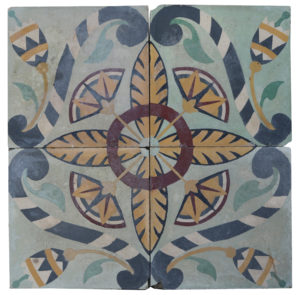 A Reclaimed Set of Four Patterned Tiles