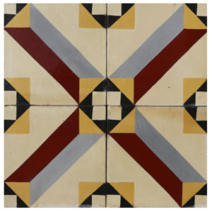 Reclaimed Geometric Encaustic Cement Floor or Wall Tiles 10.9 m2 (117 ft2)