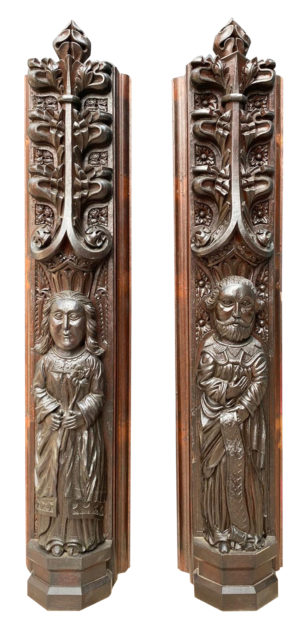 Two Antique Carved Oak Figures