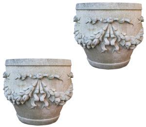 Two Large Reclaimed Limestone Garden Planters