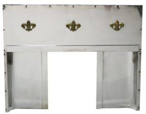 An Art Deco Stainless Steel Fireplace Insert