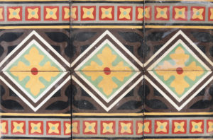 Reclaimed Patterned Encaustic Cement Floor or Wall Border Tiles 1.36 m2 (14.6 ft2)