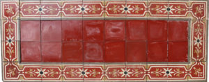 A Reclaimed Patterned Encaustic Floor Tile Panel 200 x 80 cm