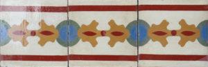 9 Reclaimed Patterned Encaustic Floor or Wall Border Tiles