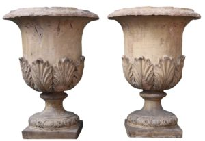 A Pair of Antique Buff Terracotta Garden Urns or Planters