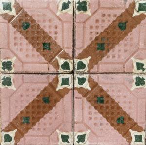 Reclaimed Encaustic Cement Floor or Wall Tiles 3.44 m2 (37 ft2)