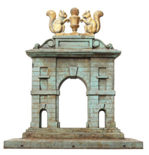 An Antique Bronze Architectural Model of a Gateway