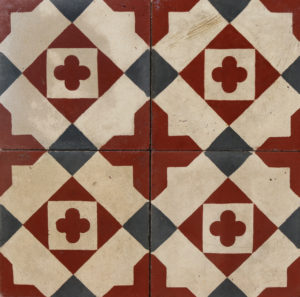 Reclaimed Patterned Encaustic Cement Floor or Wall Tiles 1.48 m2 (15.9 ft2)