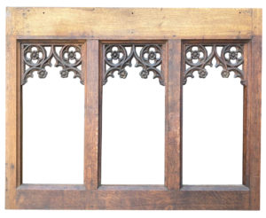 A Gothic Style Carved Oak Tracery Panel
