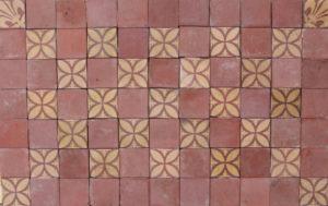 A Set of 77 Reclaimed Encaustic Floor Tiles