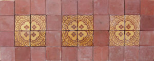 An Antique Encaustic Floor Tile Panel