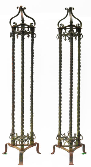 A Pair of Antique Wrought Iron lamp stands 8ft (250 cm)