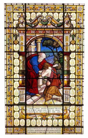 An Antique English Stained Glass Window Depicting The Prodigal Son