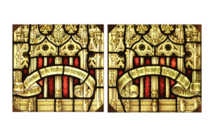Two Antique Stained Glass Window Panels
