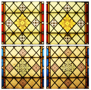 A Set of Five Reclaimed Stained Glass Windows