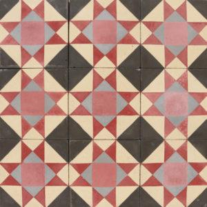 Reclaimed Geometric Encaustic Cement Floor or Wall Tiles 2.9 m2 (31 ft2)