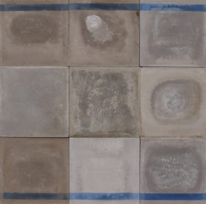 Reclaimed Shades of Blue and Grey Cement Floor Tiles 4 m2 (43 ft2)