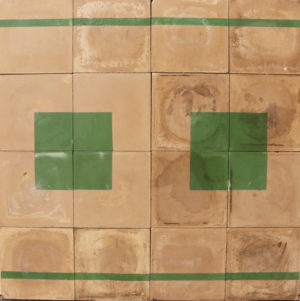 Reclaimed Green 'Squares and Lines' Cement Floor or Wall Tiles 4 m2 (43 ft2)