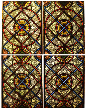 Four Reclaimed English Stained Glass Church Windows