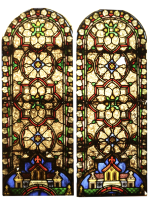 Two Reclaimed Medieval Style Stained Glass Window Panels