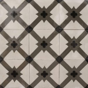 Reclaimed Grey and White Patterned Encaustic Floor Tiles 3.4 m2 (36 ft2)
