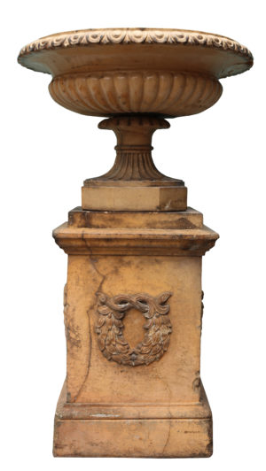 An Antique Glazed Terracotta Tazza Urn on Pedestal