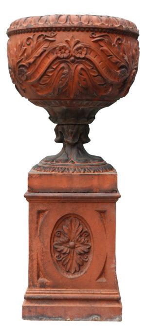 An Antique Terracotta Garden Urn on Plinth