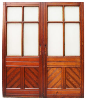 A Set of Victorian Glazed Pitch Pine Doors