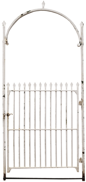 A Reclaimed Wrought Iron Garden Gate with Arched Frame