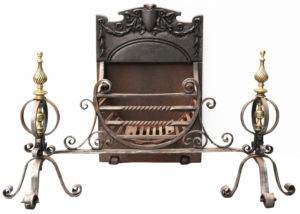 A Victorian Wrought Iron Fire Basket