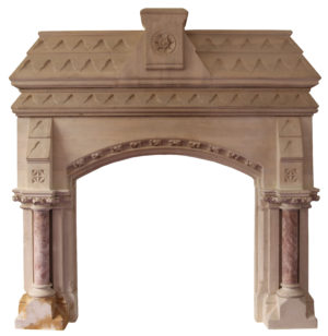 A Gothic Revival Limestone Fireplace in the Manner of Pugin