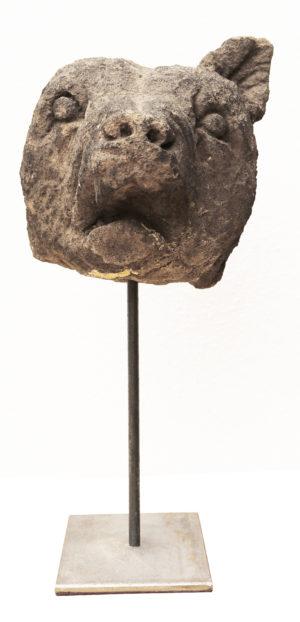 An Antique Carved Stone Fox Head Sculpture