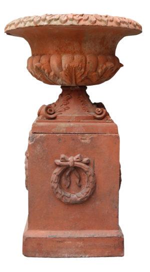An Antique Terracotta Garden Urn and Pedestal