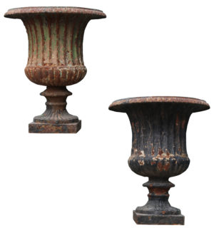 Two Antique Cast Iron Garden Urns