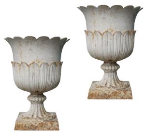 A Pair of Reclaimed Antique Cast Iron Garden Urns