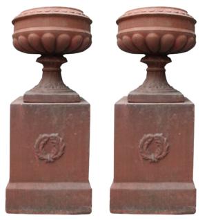A Pair of Antique Terracotta Garden Urns with Pedestals