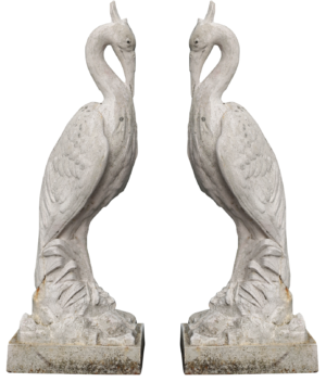 A Pair of Antique Cast Iron Heron Sculptures