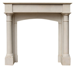 An Antique White Statuary Marble Fire Surround