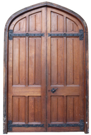 A Set of Reclaimed Arched Oak Doors with Frame