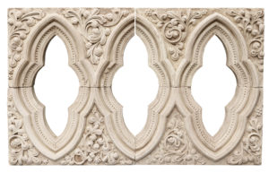 A Reclaimed Decorative Carved Limestone Window