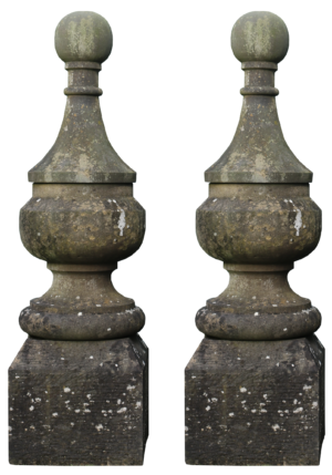 A Pair of Reclaimed Antique Stone Gate Pier Finials
