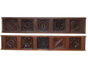 Two Antique English Carved Oak Panels