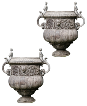 A Pair of Early 20th Century Lead Garden Urns after John Van Nost