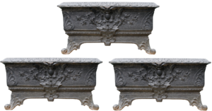 A Set of Three Antique Cast Iron Trough Planters
