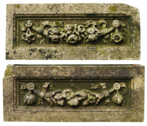 Two Reclaimed Carved Portland Stone Plaques or Friezes